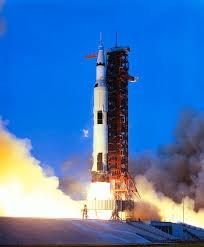 aunch Of Apollo 13 Atop A Saturn V Rocket Photograph by Nasa ...